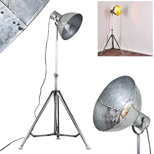 Floor lamp Svanfolk in Grey Metal, Rust Like Finish, Retro-Industrial floodlight Fitting in a Vintage Living Room, for 1 x E27 max. 25 Watt Light Bulb, Suitable LED Bulbs
