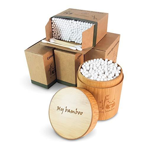 Bastoncillos de bambú orgánico | 900 unidades con caja de almacenamiento de bambú | Ecológico y 100% biodegradable | cero plástico en embalaje