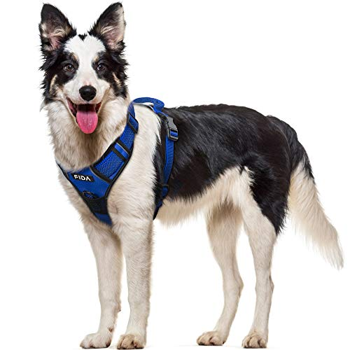 Fida Dog Harness Full Reflective Design, No-Pull Pet Vest Harness with 2 Leash Clips, Adjustable Soft Padded with Easy Control Handle for Large Dogs(L, Blue)