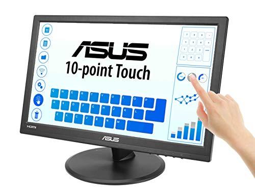 ASUSVT168H - Monitor tactil de 15' | 60 Hz (1366x768, 200 cd/m², 50000000:1,No Webcam, No ajustable en altura capacitiva, 0,252 x 0,252 mm, filtro de luz azul, Flicker free) Negro