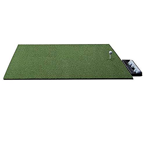 Multi-Club Golf Mat - 5x5 Feet Premium Turf Indoor/Outdoor Mat for Hitting & Chipping - Heavy Iron & Driver Use Golf Stance Mat w/Golf Accessories (Golf Tray + 3 Rubber Golf Tees)