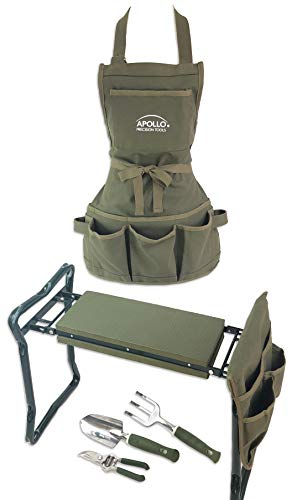 APOLLO TOOLS Foldable Garden Seat with Adjustable Kneeler Position. Includes Washable Green Apron with Deep Pockets and 3 Quality Garden Tools - DT3798