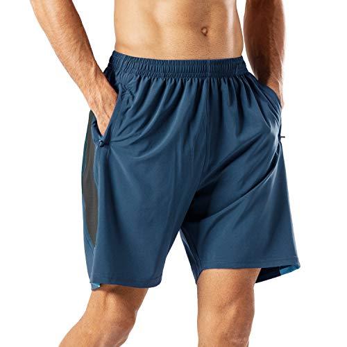 Herren Sport Shorts Schnell Trocknend Kurze Hose mit Reißverschlusstasch(Blau,L)