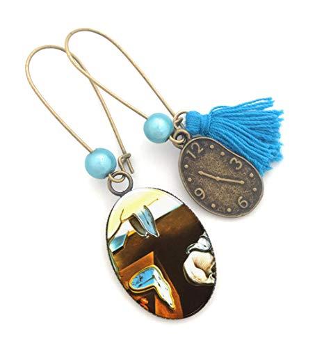 Boucles d'oreilles asymétriques les montres molles de Dali, bijou cabochon, la persistance de la mémoire, cadeau unique, cadeau art