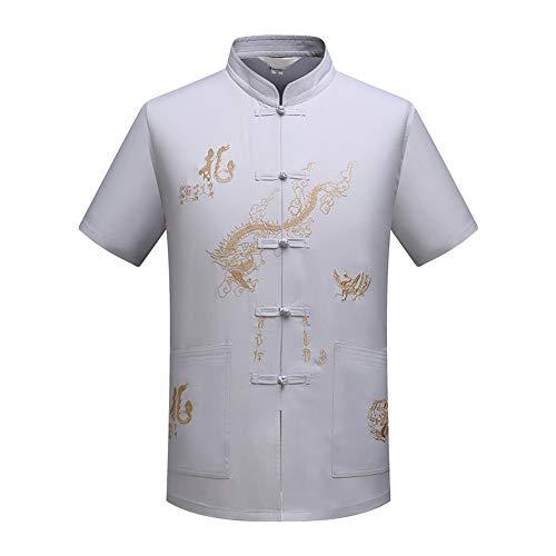 Xinvivion Herren Tang Anzug, Chinesisch Traditionell Stehkragen Kurzarm Drachen Muster Tai Chi Shirt Kampfkunst Kung Fu Hemd Uniform