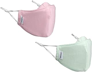 Kids Face Mask | Children's 2-Pack | Anti-Microbial, Reusable, Cloth, Adjustable, Breathable, 2-Layer 100% Cotton (Inner a...