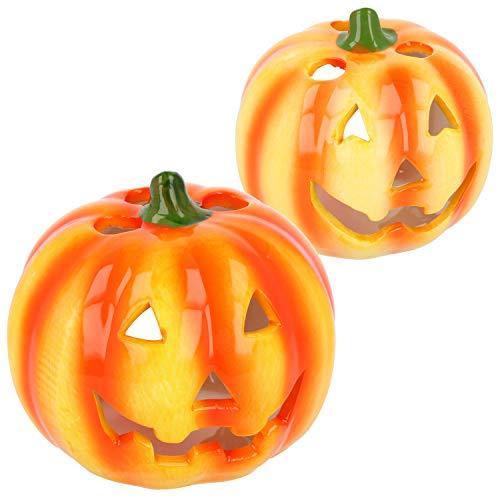 com-four® 2X Kürbis Windlicht - Teelichthalter aus Keramik - Deko Kürbis für Herbst und Halloween [Auswahl variiert] (02 Stück - Kürbis Ø 10cm)
