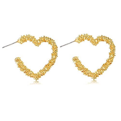 FEARRIN Pendientes Vintage para Mujer Pendientes Colgantes geométricos de Metal para Mujer Pendientes de Oro llamativos Pendientes Colgantes de corazón Redondo con Estrella Hueca LNI1476-1