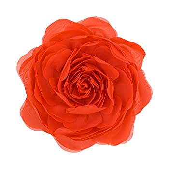 JWH 3D Rose Flower Handmade Accent Pillow Yarn Round Cushion Decorative Pillowcase with Pillow Insert Home Office Chair Bed Living Room Office Chair Bench Decor Girl Gift Orange Red 12 Inch / 30 cm