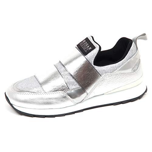 Hogan E8986 Sneaker Donna Silver Rebel R261 Scarpe Glitter Slip on Shoe Woman [36]