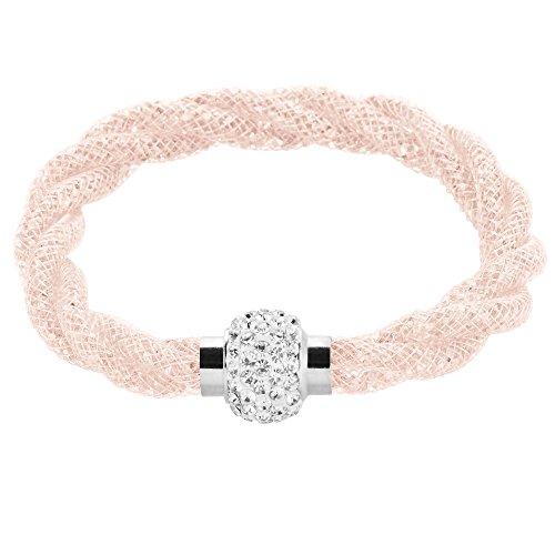 Mianova Damen Stardust Schlauch Armband Armreif Netzschlauch Nylon mit Strass Steinen Kristallen Shamballa Kugel Silber Lachs