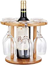 Wine Bottle Holder Stand - with 6 Glasses Holder - Elegant & Perfectly Crafted - Easy to Carry for Travel - Smart Storage ...