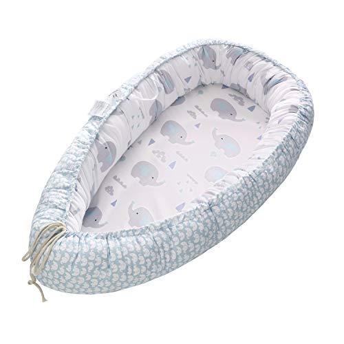 Miracle Baby Cuna Bebé,Nido Bebé Portátil, Cuna Nidos Ajustable, Cama Nido de Bebé Recién Nacido,Multifuncional Cuna Cama de Viaje para Bebe Dormir(88x53x15cm) (Elefante)