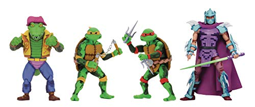 NECA TMNT Turtles in Time: Michelangelo, Raphael, Leatherhead, Super Shredder 7 Inch Action Figure Series 2 Set