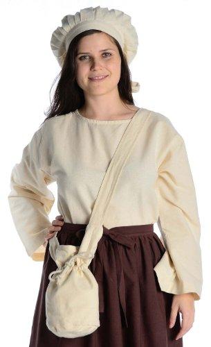 HEMAD Umhänge -Tasche Klein - Baumwolle/Leinenlook Mittelalter Kleidung, Beige, Einheitsgröße