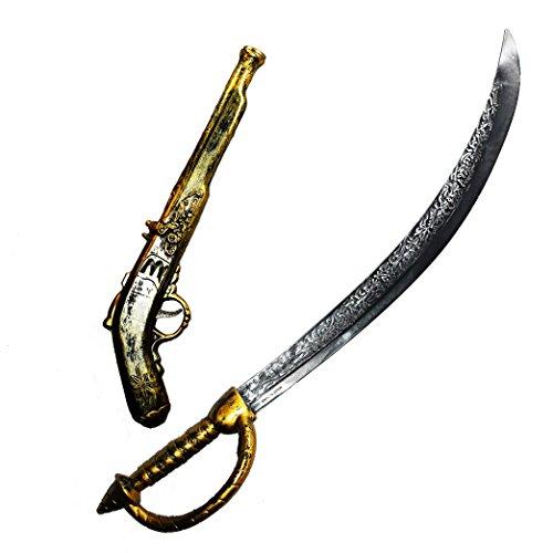 JOYIN 71,1 cm Piratenschwert und 40,6 cm Piratenpistolen-Set, Halloween Kostümzubehör, das perfekte Accessoire für Kinder & Erwachsene zum Piratenkostüm