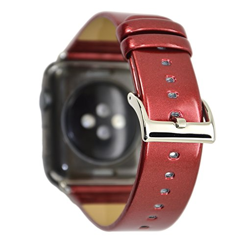 NewSilkRoad for Apple Watch Band 38mm,PU Leather Metal Painting Effect with Bottom Waterproof Corium Leather Bracelet Wrist Strap for iWatch Series 3 Series 2 Series 1 Sport Edition (Red)