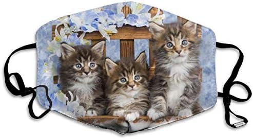 Face Mask Kittens Cat and Flowers Breathable Reusable Ear Loop Unisex Face Balaclava Bandana product image