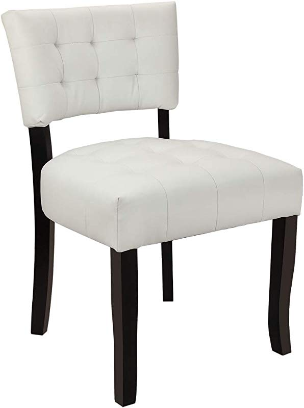 Homegear Oversized Tufted Faux Leather Accent Chair White