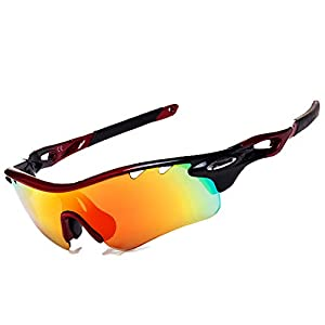 JOGVELO Polarized Sports Sunglasses,Cycling Glasses Men UV400 with 5 Interchangeable Lenes