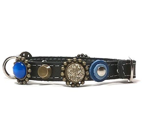 Superpipapo Hunde-Halsband, Handmade Schwarz Leder für Welpen, Chihuahuas und Kleine Hunde, Edel Fashion Modern Elegant Chic und Cool Gleichzeitig, 25 cm XXXS: Halsumfang 15-20 cm, Breit 13mm