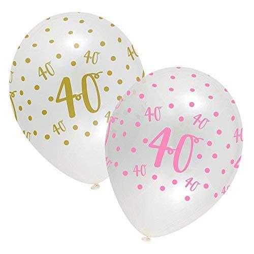 Ballonnen - Pink chic - 40 Jaar - 30cm - 6st.