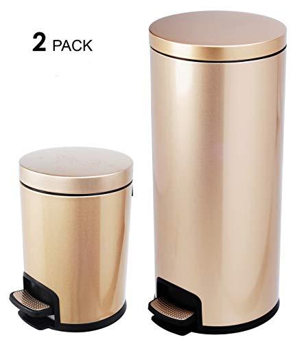 AMENITIES DEPOT Luxurious Stainless Steel Trash Can Garbage Bin Waste Receptacle (5L+30L)