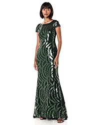 Malachite Cap Sleeve Gown with V-Neck Back