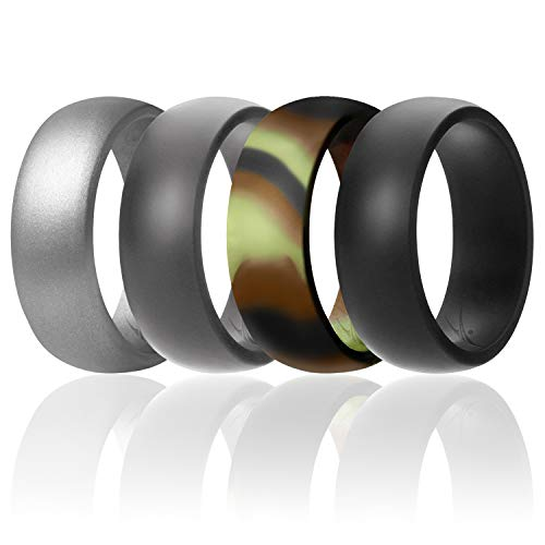 ROQ Silicone Wedding Ring for Men Affordable Silicone Rubber Band, 4 Pack - Camo, Metal Look Silver, Black, Grey - Size 11