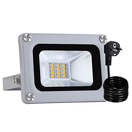 LED Strahler 10W, Kaltweiß 800LM LED Wandstrahler, XGZ 220V Außenstrahler Aluminium Flutlicht Fluter IP65 Wasserdicht LED Fluter für Außen Innen Lampe (Kaltweiß, 2 PCS)