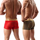 Men Boxer Briefs Shorts Bulge Pouch Soft Underpants Mens Trunks Mesh Underwear for Male Pack of 2 (US Size L - Tag Asia Size XL, red/army green)