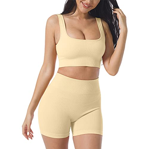 Women's Workout Outfits Yoga Set 2 Piece Seamless Ribbed Sports Bra Tight Shorts Gym Suit