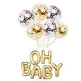 OH BABY Folienballon,Konfetti-Ballon Air Helium Luftballon Decorations Buchstaben Ballon,Hochzeit Ballons,Fotorequisite für Jungen oder Mädchen Baby Shower Dekorationen,Geburtstag...