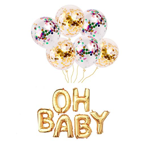 OH BABY Folienballon,Konfetti-Ballon Air Helium Luftballon Decorations Buchstaben Ballon,Hochzeit Ballons,Fotorequisite für Jungen oder Mädchen Baby Shower Dekorationen,Geburtstag Dekorationen