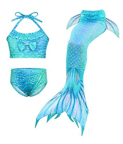 AmzBarley conjunto de biquíni para crianças meninas sereia natação maiôs de cauda de sereia para fantasia festa na praia tamanho azul 120 (5-6 anos)