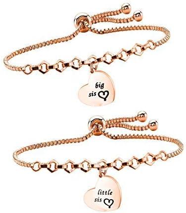 LQRI Big Sis Lil Sis Bracelets Set for 2 Sisters Adjustable Link