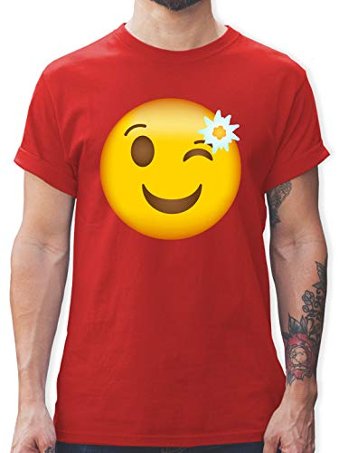 Oktoberfest & Wiesn Herren - Oktoberfest Emoticon mit Edelweiß - 3XL - Rot - l190_Shirt_Herren - L190 - Tshirt Herren und Männer T-Shirts