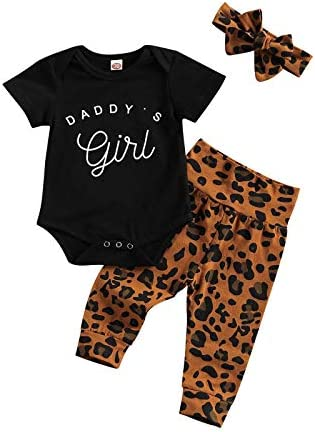 Newborn Baby Girl Outfits Clothes Daddy s Girl Mommy s Girl Bodysuit Romper Leopard Pants Headband product image