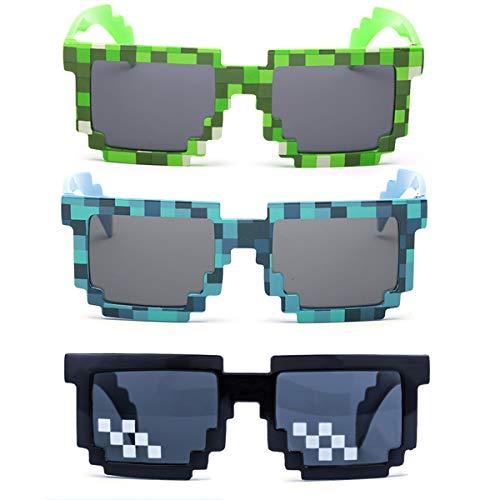 kilofly 3 gafas de sol para jugadores de 8 bits con protección UV, para adultos y niños