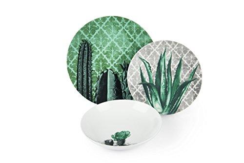 Excelsa Barrio de Cactus Servizio Piatti 6 Persone, Porcellana, Verde e Grigio, 18 Pezzi, unità