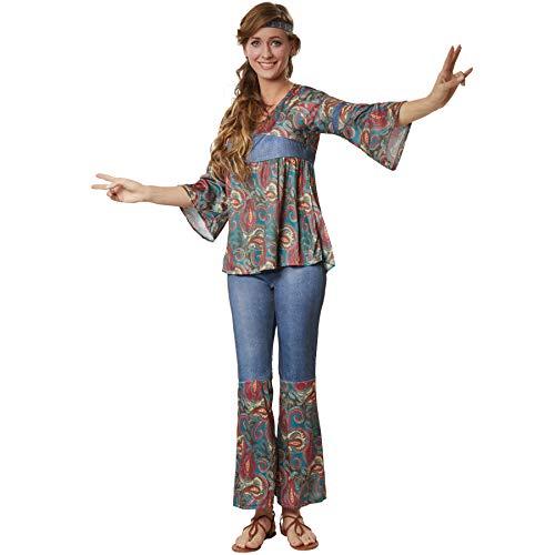 dressforfun 900522 - Damenkostüm Hippi Girl Harmony, Outfit in Jeans- und Ornamentenoptik inkl. Stirnband (XL | Nr. 302611)