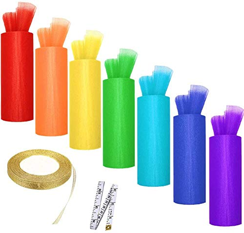 7 Tulle Rolls Rainbow Tulle Colors Roll Fabric Spool 6'' by 25 Yard Spool for Wedding Tutu and Table Skirt Decoration