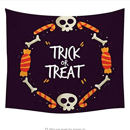 myvovo Happy Halloween Wandbehang Süßes oder Saures Gobelin Hexe Besen Hut Rip Kerze Schädel Kürbis Ghost Spider Decor Drop