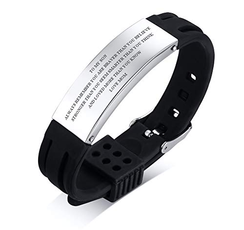 PJ JEWELLERY to My Son Courage Inspirational Love from Mom Dad Silicone Bracelets to Son Inspiration Family Bracelet, Black