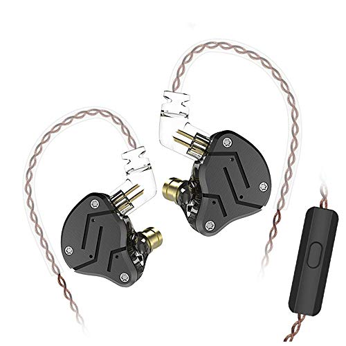 Yinyoo KZ ZSN HiFi In Ohr Monitor Ohrhörer KZ Kopfhörer mit 1DD + 1BA Dual Treiber In Ear Kopfhörer f¨ür alle 3,5 mm Audiogeröte (Schwarz mit Mikrofon)
