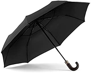 ShedRain WindPro Vented Auto Open Auto Close Compact Umbrella with Curved Wood Handle