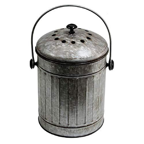 Edelstahl-Kompostbehälter Runder Mülleimer, Küchenkompostbehälter mit Bsorbx-Geruchsfiltersystem, rostfreier Aufsatzbehälter Papierkorb Silber