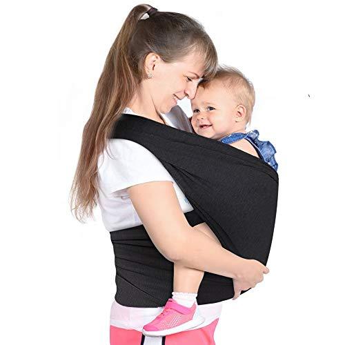 Lictin Fular Portabebés Elástico Negro Portador de Bebé ;Pañuelo;Unisex;Para padres (Negro)