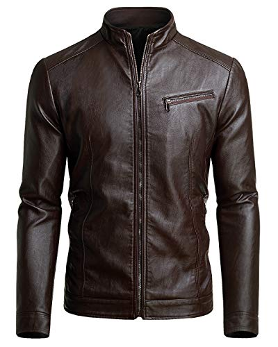 Men's Casual Faux Leather Jacket, Chocolate, Medium