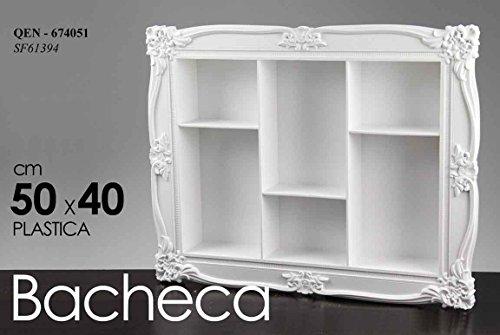 Gicos BACHECA Rettangolare Bianca Vari Ripiani PLASTICA 50X 40 CM
